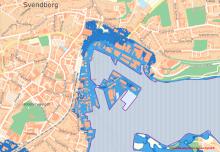 Kort over stigende havvand