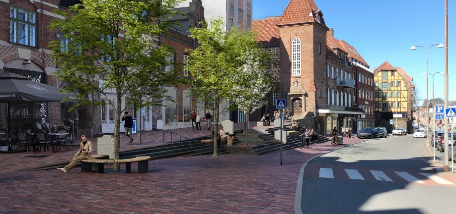 Illustration af trappen på Klosterplads af Land+.